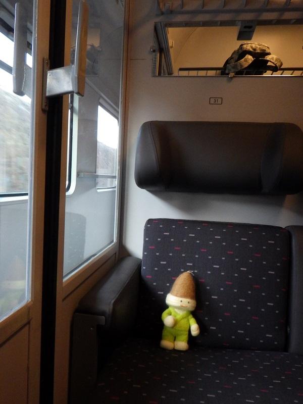 ルクセンブルグ行き列車のコンパートメント